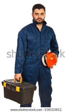Electrician worker holding box of utensils and hat isolated o nwhite background - stock photo