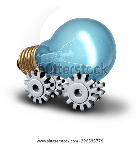 Electriciity industry concept and electric vehicle idea as a lightbulb on gear or cogwheels as a symbol for innovative technology and creative business on a white background. - stock photo