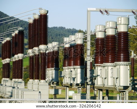Electricity and power generation industry electric power transformation substation - stock photo