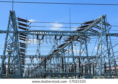 Electricity and power generation industry in Poland. Voltage transformation substation. - stock photo