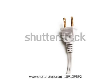 Electricity brass plug - stock photo