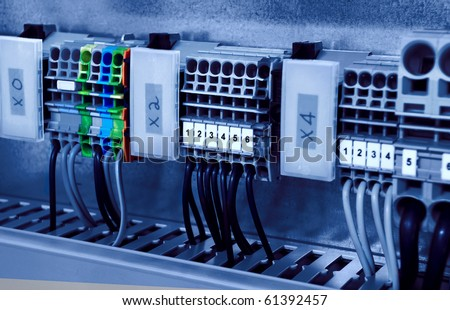 stock photo electricity distribution box with wires and circuit breakers fuse box 61392457 distribution board stock images, royalty free images & vectors fuse distribution box and main switch at honlapkeszites.co