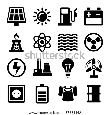 Electricity Energy and Power Icons Set. Illustration