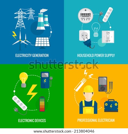Electricity energy concept flat business icons set of household power professional electrician for infographics design web elements  illustration - stock photo