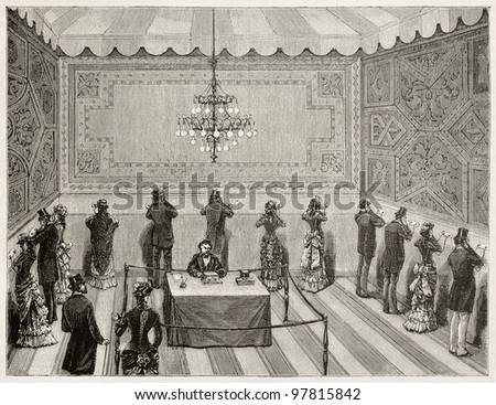 Electricity Expo, Opera theater, Paris: public telephonic auditions. Created by Broux and Tilly, published on Magasin Pittoresque, Paris, 1882 - stock photo