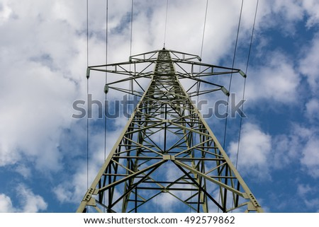 Electricity high voltage power pole