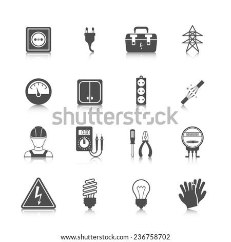 Electricity icon black set with plug socket power station isolated  illustration - stock photo