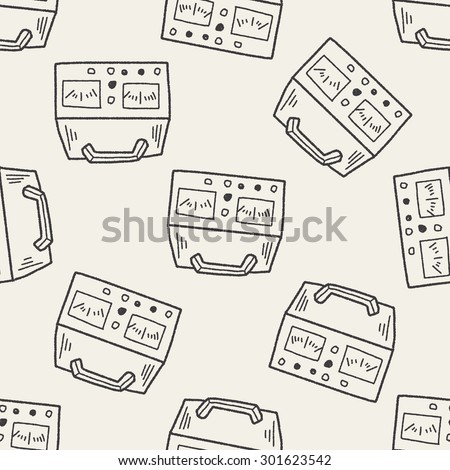 electricity measurer doodle seamless pattern background