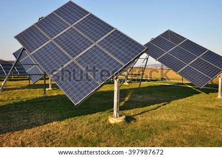 Electricity panel, solar power station  - stock photo