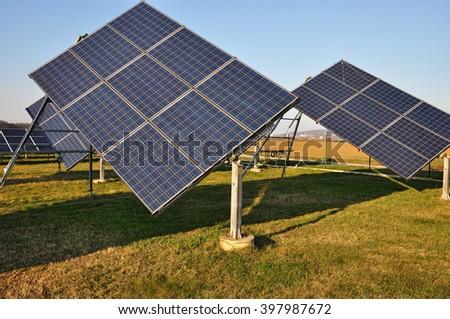Electricity panel, solar power station  - stock photo