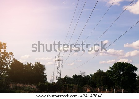 Electricity Pillars with sky cloud and forest.