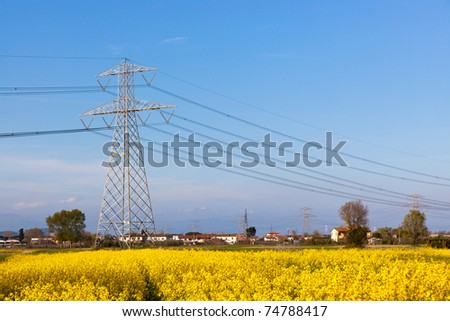 Electricity Pilon in the Countryside on Spring - stock photo