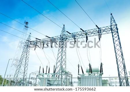 Electricity plant,electricity station,landscape over blue sky - stock photo