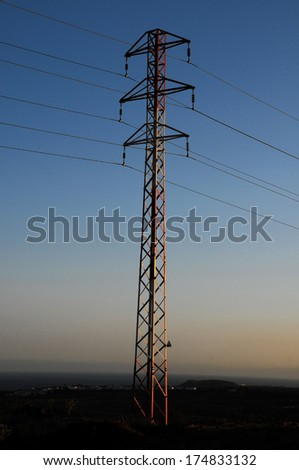 Electricity Pole over a Blue Sky in Spain