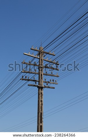 electricity post - stock photo