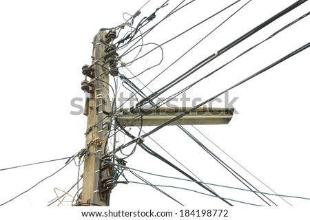 Electricity post on white background