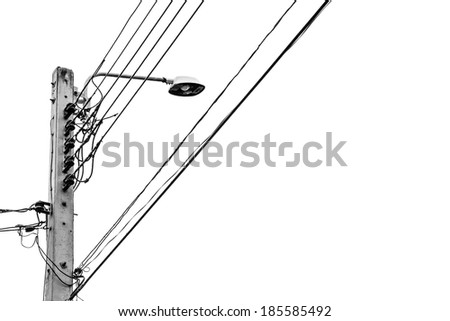 Electricity post on white background  - stock photo