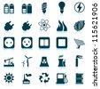 Electricity, power and energy icon set. Raster version. - stock photo