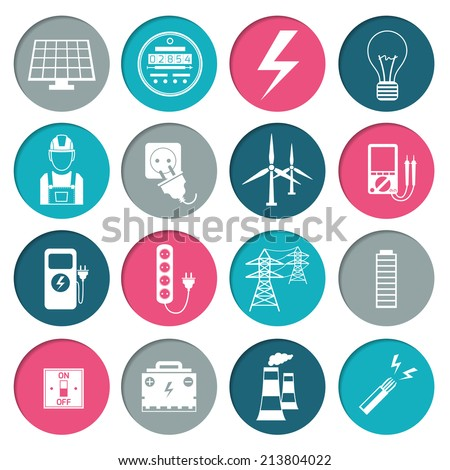 Electricity power energy icons set in white color on circles  illustration - stock photo