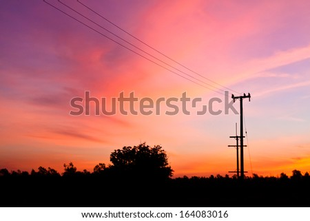Electricity Pylon at dawn - stock photo