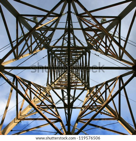 Electricity pylon from below - stock photo