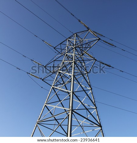 electricity pylon with cables from below