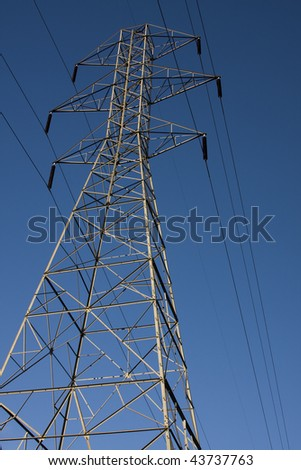 Electricity Pylon with Clear Blue Sky in the Background.