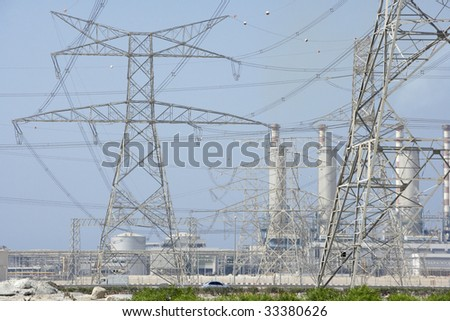Electricity Pylons And Power Station