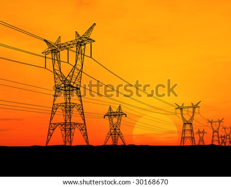 Electricity pylons at orange sunset