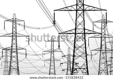 electricity pylons on white - stock photo
