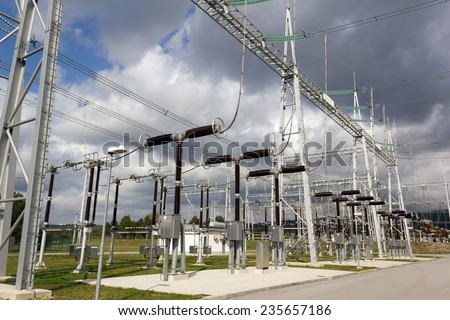 Electricity substation with electrical power equipment. - stock photo