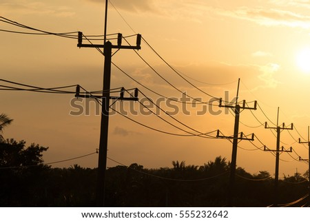 Electricity Sunset Landscape.