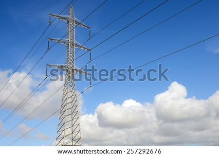 electricity tower isolated on a sky background - stock photo