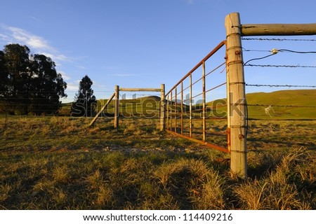Electrified stock fence  and corner posts lit by the rays of a setting sun,kwazulu natal,south africa.