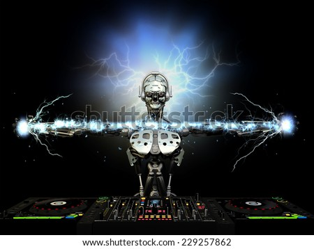 Electro Robot DJ - A robot DJ spinning CDs and mixing. Producing electric effects between his hands and behind his head.  Turntables and mixers. - stock photo