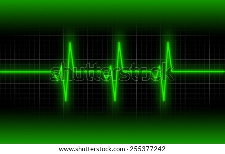 Electrocardiogram - Concept of healthcare, heartbeat shown on monitor - green