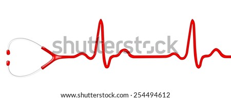 Electrocardiogram (ECG, heart monitor) with stethoscope head. Illustration - stock photo