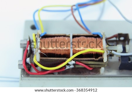Electromagnet with wires. Small electromagnet. Electric magnet. - stock photo