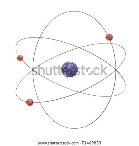 Electron paths around the nucleus on white background - stock photo