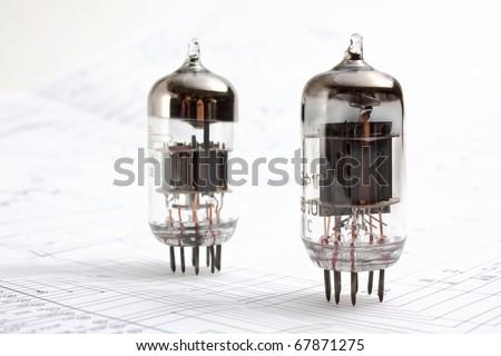 electron tube on the wiring diagram - stock photo