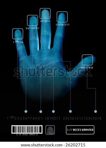 Electronic biometric fingerprint scanning - stock photo