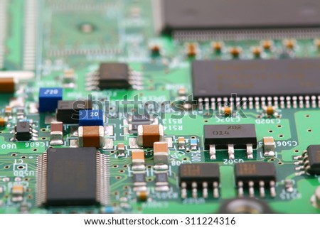 Electronic board close up photo