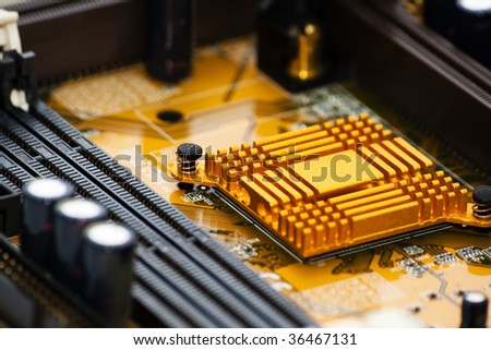 Electronic board detail on a chip - stock photo