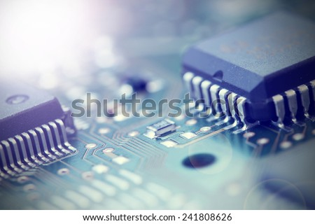 Electronic Board. Small depth of field. Lens flare - stock photo