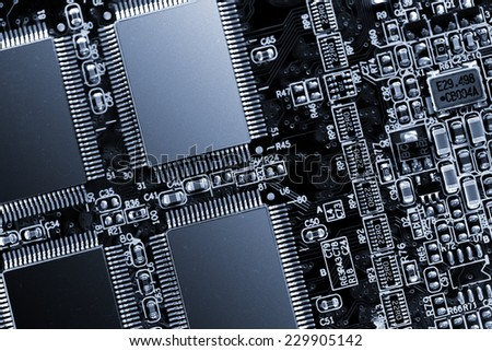 electronic board with memory chips - stock photo