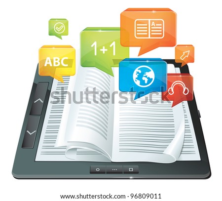 electronic book concept  - tablet pc with pages and icons -  raster illustration - stock photo