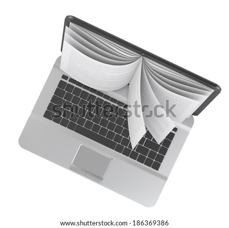 Electronic book. E-book. E-learning. Laptop with book pages isolated on white.  - stock photo