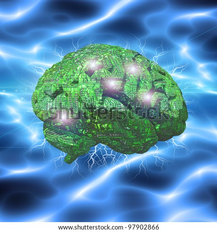 Electronic Brain - stock photo