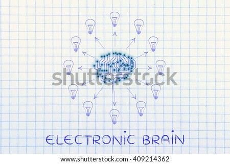 electronic brain: electronic circuit brain creating ideas, with arrows pointing out to lightbulbs