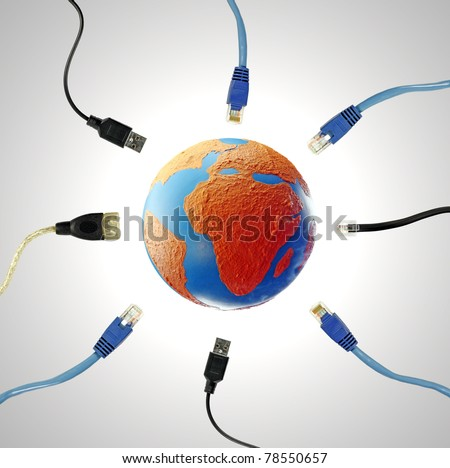Electronic cable invading a colorful globe showing the continent of Africa for the concept of a connected technology world. - stock photo